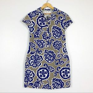 Boden | Floral Print Shirt Dress Collar Button 8L